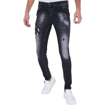 textil Herr Stuprörsjeans True Rise Jeans Slim Fit A Svart