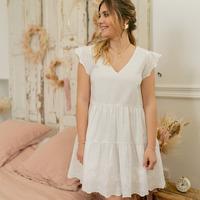 textil Dam Korta klänningar Céleste DAHLIA Vit