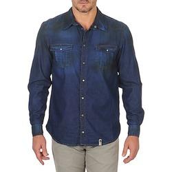 textil Herr Långärmade skjortor Freeman T.Porter CORWEND DENIM Blå