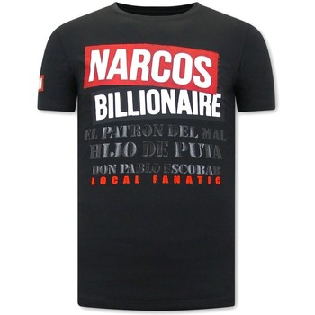 textil Herr T-shirts Local Fanatic Tryck Narcos Billionaire Svart