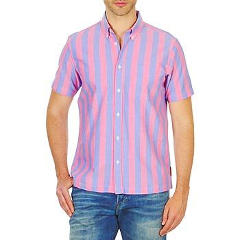 textil Herr Kortärmade skjortor Ben Sherman BEMA00487S Rosa / Blå