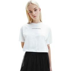 textil Dam T-shirts Calvin Klein Jeans J20J215313 Vit