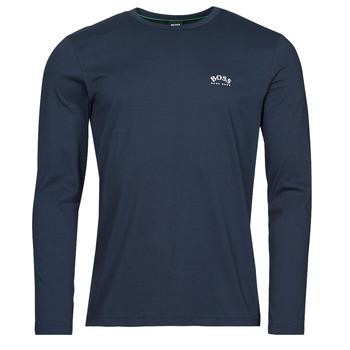 textil Herr Långärmade T-shirts BOSS TOGN CURVED Marin