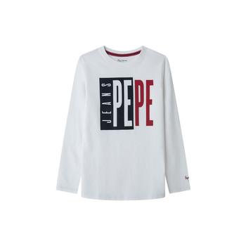 textil Pojkar Långärmade T-shirts Pepe jeans AARON Vit