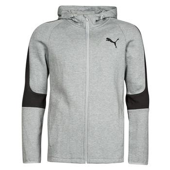 textil Herr Sweatshirts Puma EVOSTRIPE CORE FZ HOODIE Grå / Svart
