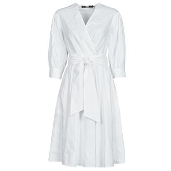 textil Dam Korta klänningar Karl Lagerfeld LOGO EMROIDERED SHIRT DRESS Vit