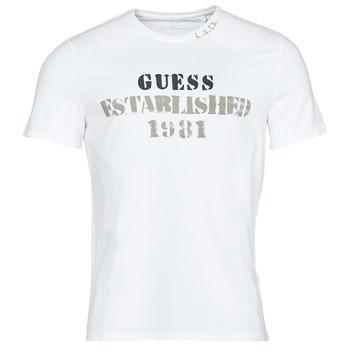 textil Herr T-shirts Guess WORKFOR CN SS TEE Vit
