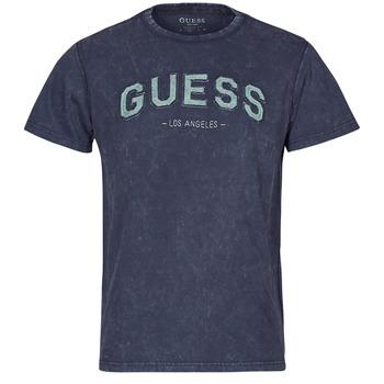 textil Herr T-shirts Guess GUESS COLLEGE CN SS TEE Marin