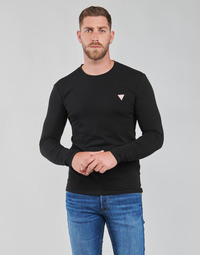 textil Herr Långärmade T-shirts Guess CN LS CORE TEE Svart