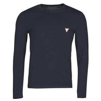 textil Herr Långärmade T-shirts Guess CN LS CORE TEE Marin
