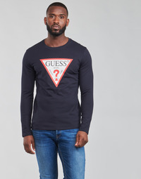 textil Herr Långärmade T-shirts Guess CN LS ORIGINAL LOGO TEE Marin
