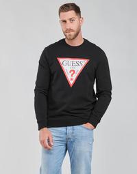 textil Herr Sweatshirts Guess AUDLEY CN FLEECE Svart