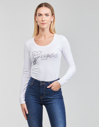textil Dam Långärmade T-shirts Guess LS CN RAISA TEE Vit