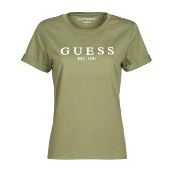 textil Dam T-shirts Guess ES SS GUESS 1981 ROLL CUFF TEE Kaki