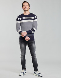 textil Herr Tröjor Guess LONDON EMBOSSED STRIPED CN Marin / Vit