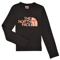 textil Pojkar Långärmade T-shirts The North Face EASY TEE LS Svart