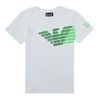 textil Pojkar T-shirts Emporio Armani EA7 THAMIA Vit / Grön