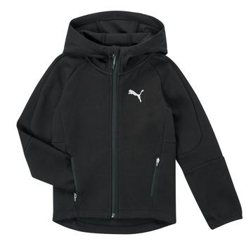 textil Pojkar Sweatshirts Puma EVOSTRIPE FZ HOODED JACKET Svart