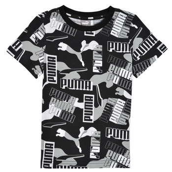 textil Pojkar T-shirts Puma ALPHA AOP TEE Svart