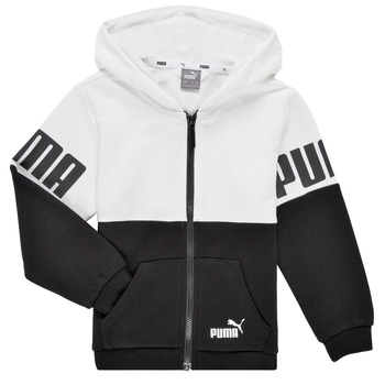 textil Pojkar Sweatshirts Puma PUMA POWER FZ HOODIE Svart / Vit