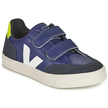 Skor Barn Sneakers Veja SMALL V-12 VELCRO Blå / Vit