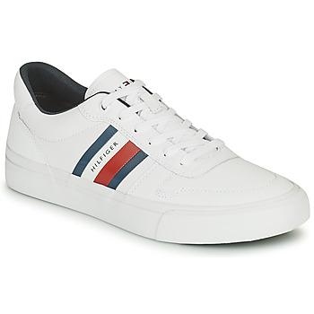 Skor Herr Sneakers Tommy Hilfiger CORE CORPORATE STRIPES VULC Vit