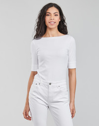 textil Dam Långärmade T-shirts Lauren Ralph Lauren JUDY-ELBOW SLEEVE-KNIT Vit