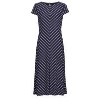 textil Dam Långklänningar Lauren Ralph Lauren PIPPA-CAP SLEEVE-DAY DRESS Blå