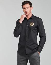 textil Herr Långärmade skjortor Versace Jeans Couture SLIM PRINT V EMBLEM GOLD Svart / Guldfärgad