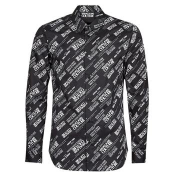 textil Herr Långärmade skjortor Versace Jeans Couture SLIM PRINT WARRANTY Svart / Vit