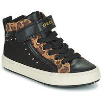 Skor Flickor Höga sneakers Geox KALISPERA Svart / Leopard