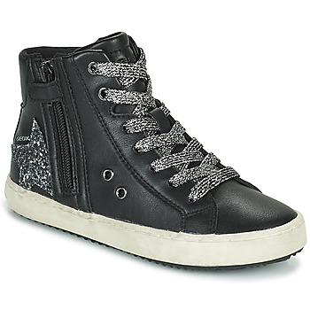 Skor Flickor Höga sneakers Geox KALISPERA Svart / Silverfärgad