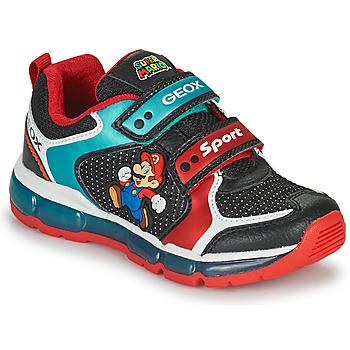 Skor Pojkar Sneakers Geox ANDROID Svart / Blå / Röd