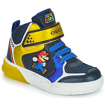 Skor Pojkar Höga sneakers Geox GRAYJAY Blå / Gul