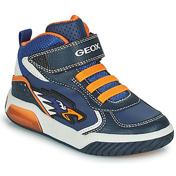 Skor Pojkar Höga sneakers Geox INEK Marin / Orange
