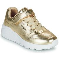 Skor Flickor Sneakers Skechers UNO LITE Guldfärgad