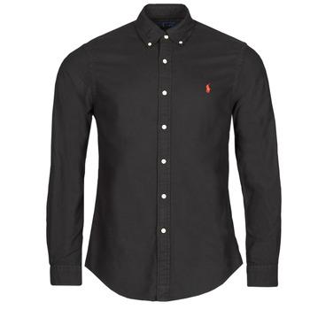 textil Herr Långärmade skjortor Polo Ralph Lauren CAMISETA Svart