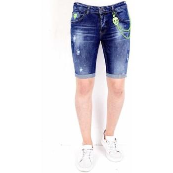 textil Herr Shorts / Bermudas Local Fanatic Exclusive Korte Heren Broek Met Verfspatten  Blauw Blå