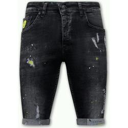 textil Herr Shorts / Bermudas Local Fanatic Exclusive Korte Broek Met Verfspatten Heren  Zwart Svart