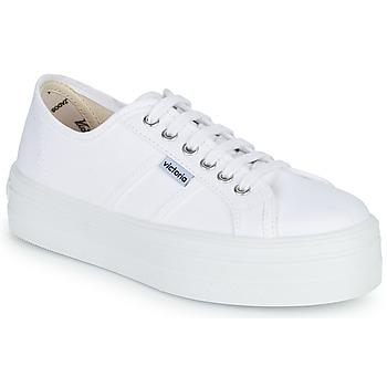Skor Dam Sneakers Victoria BLUCHER LONA PLATAFORMA Vit