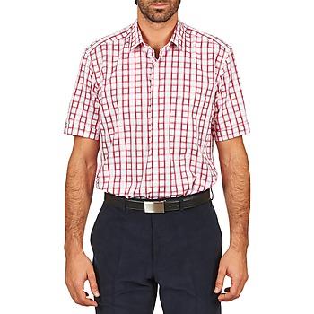 textil Herr Kortärmade skjortor Pierre Cardin CH MC CARREAU GRAPHIQUE Vit / Röd