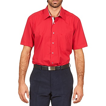 textil Herr Kortärmade skjortor Pierre Cardin CH MC POPELINE UNIE - OPPO RAYURE INTERIEUR COL & POIGNET Rosa / Röd