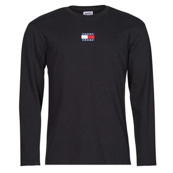textil Herr Långärmade T-shirts Tommy Jeans TJM LS TOMMY BADGE TEE Svart
