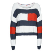 textil Dam Tröjor Tommy Jeans TJW  RWB STRIPE SWEATER Blå / Vit / Röd
