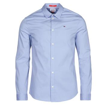 textil Herr Långärmade skjortor Tommy Jeans TJM ORIGINAL STRETCH SHIRT Blå