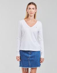 textil Dam Långärmade T-shirts Tommy Hilfiger REGULAR CLASSIC V-NK TOP LS Vit