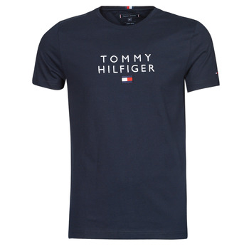 textil Herr T-shirts Tommy Hilfiger STACKED TOMMY FLAG TEE Marin
