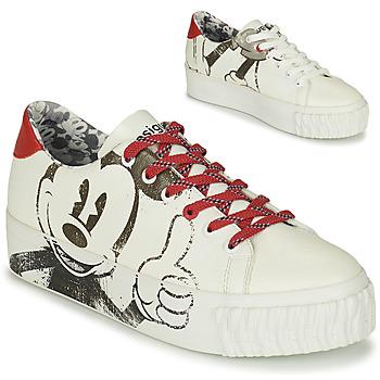 Skor Dam Sneakers Desigual STREET MICKEY Vit / Röd