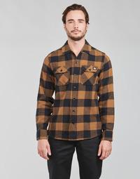 textil Herr Långärmade skjortor Dickies NEW SACRAMENTO SHIRT Kamel / Svart