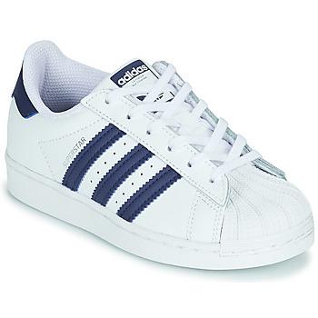 Skor Barn Sneakers adidas Originals SUPERSTAR C Vit / Blå